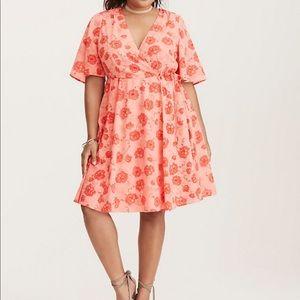 Torrid   Georgette Pink Floral Wrap Midi Dress